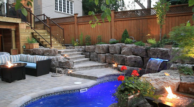 Land effects outdoor living spaces ltd has 47 reviews and average rating of 10 0 out of 10 - Pools in small spaces set ...
