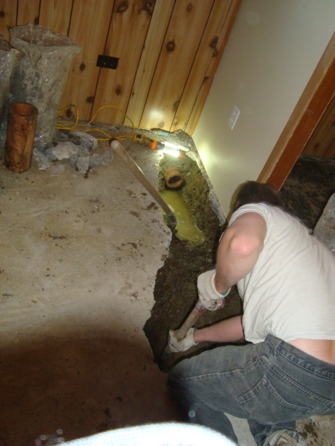 photo of basement floor drain replacement from a a